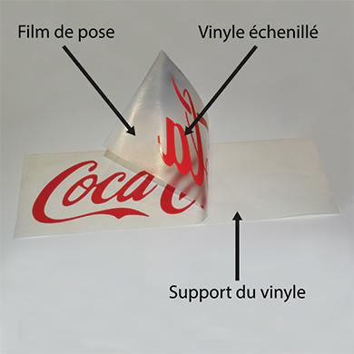 Lettrage avec film de pose - vinyle échenillé et support du vinyle