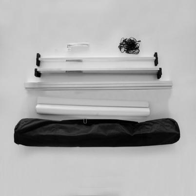 Vue de haut, contenu commande barrière de stand imprimée